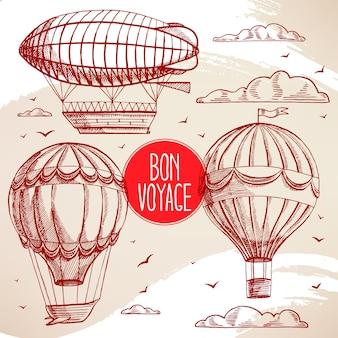 Set mit vintage-luftballons, die in den himmel fliegen
