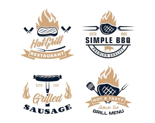 Set mit vintage retro bbq grill barbecue barbeque label
