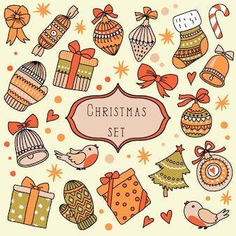 Set mit vintage weihnachtselementen