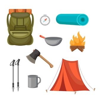 Set mit vorlagendesigns für kletterausrüstung