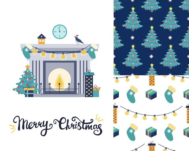 Set mit weihnachtsgrußkarte kamin mit weihnachtsbaum und geschenken zwei weihnachtsmuster