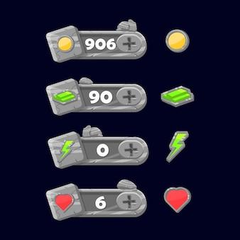 Set mit zusätzlichen rock frame panels für game-ui-elemente