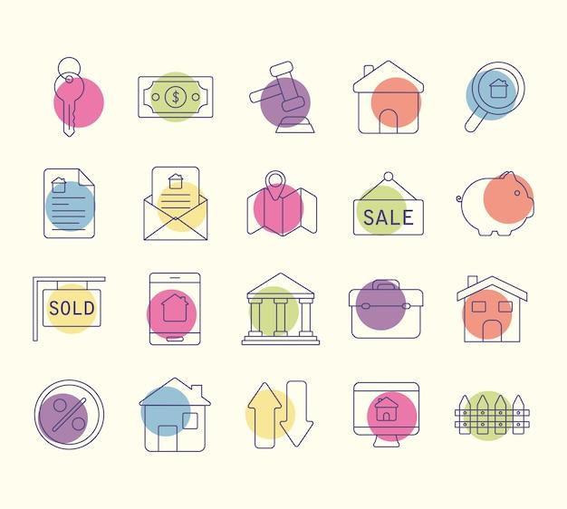 Set mit zwanzig immobilienartikeln
