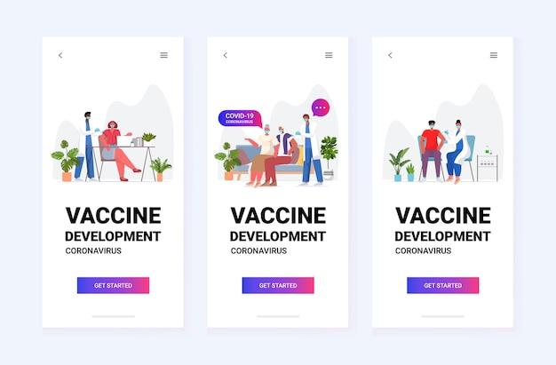 Set mix race ärzte in masken, die patienten impfen, um gegen das konzeptbanner der medizinischen impfkampagne für die entwicklung von coronavirus-impfstoffen zu kämpfen