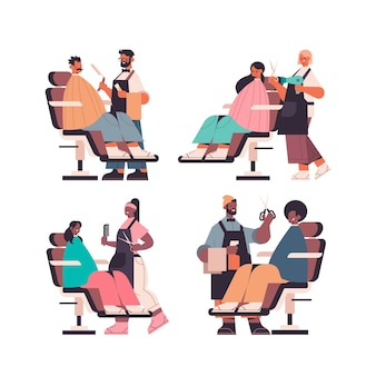 Set mix race friseure machen frisur zu kunden im schönheitssalon in voller länge isoliert vektor-illustration