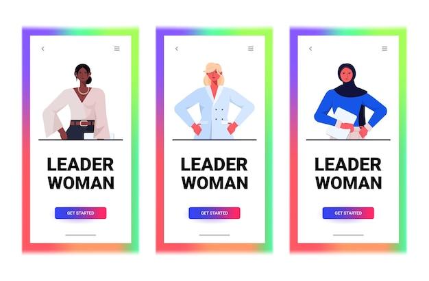 Set mix race geschäftsfrauen führer in formelle kleidung erfolgreiche geschäftsfrauen führung besten chef konzept weibliche büroangestellte sammlung porträt horizontale vektor-illustration