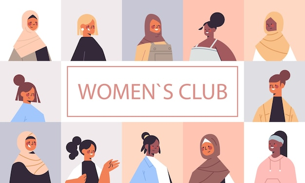 Set mix race mädchen avatare frauenclub union der feministinnen konzept porträts sammlung horizontale vektor-illustration