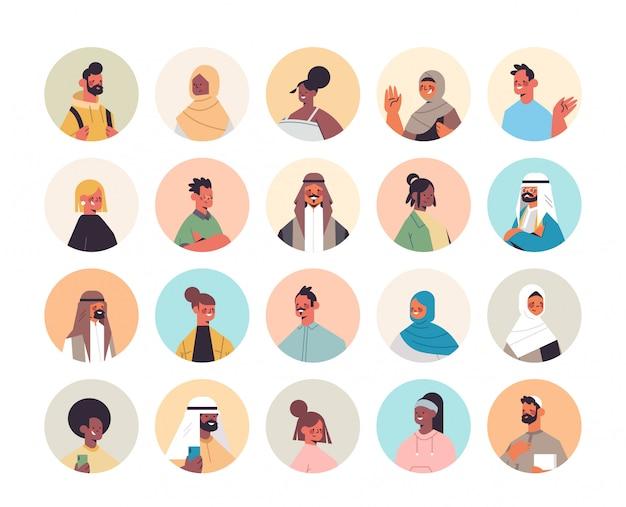 Set mix race menschen avatare männer frauen porträts sammlung männliche weibliche comicfiguren illustration