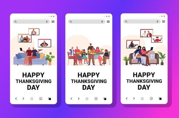 Set mix race menschen feiern glücklichen erntedankfest familie diskutieren während videoanruf konzept smartphone bildschirme sammlung