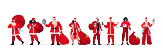 Set mix race menschen in santa claus kostüme tragen schutzmasken neujahr weihnachten feiertage feier coronavirus quarantäne konzept horizontale illustration