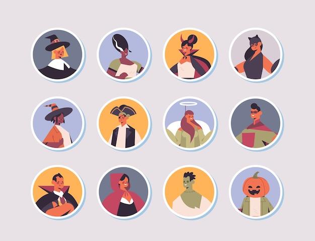 Set mix race menschen in verschiedenen kostümen glücklich halloween party feier konzept männer frauen avatare sammlung flache porträt vektor-illustration