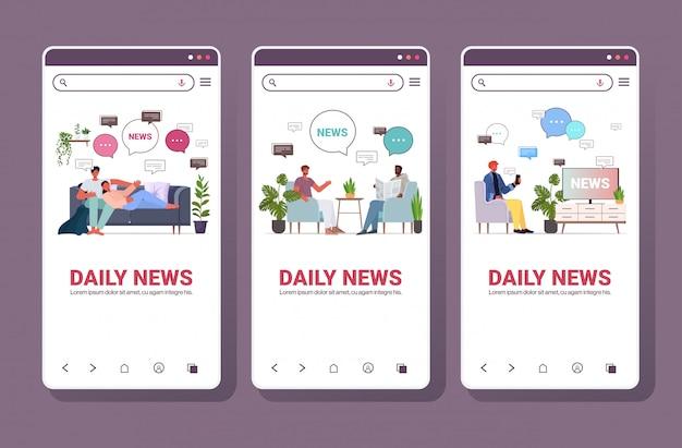 Set mix race menschen lesen und diskutieren tägliche nachrichten chat blase kommunikationskonzept smartphone bildschirme sammlung in voller länge kopie raum horizontale illustration