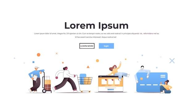 Set mix race menschen mit trolley cart kreditkarte und laptop in voller länge horizontale illustration