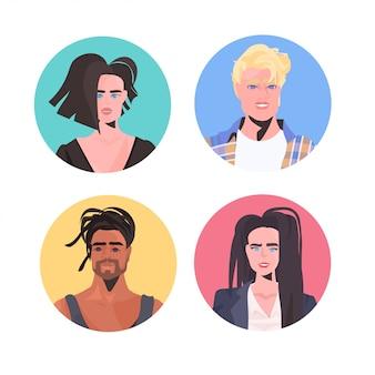 Set mix race menschen profil avatare schöner mann frau gesichter männlich weiblich zeichentrickfiguren