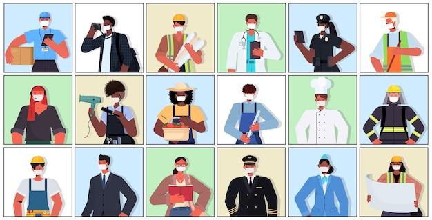 Set mix race menschen verschiedener berufe tragen masken, um coronavirus zu verhindern