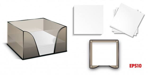 Set-mockup plastikbox mit aufklebern