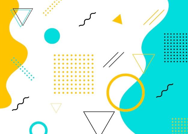 Set moderne abdeckungen im memphis-stil. bunter geometrischer hintergrund kann als broschürendesign, flyer, webbanner, werbeplakat, zeitschrift, flaches cover für das web verwendet werden. vektorillustration.