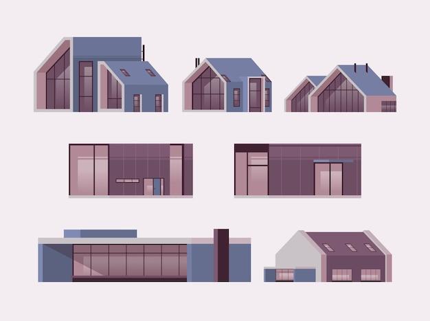 Set moderne häuser aus sandwichpaneelen mit großen panoramafenstern zeitgenössische umweltfreundliche wohngebäudesammlung modulares wohnkonzept horizontale isolierte vektorillustration