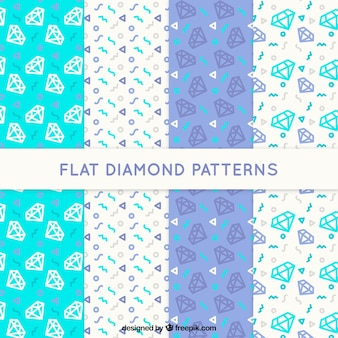Set moderner muster mit dekorativen diamanten