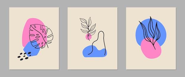 Set moderner zeitgenössischer abstrakter poster mit bunten formen, tropfen, pflanzen und doodle-objekten.