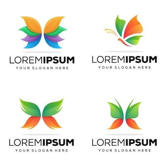 Set modernes schmetterlings-logo-design