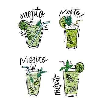 Set mojito cocktail und wassermelone frisch. bunter skizzenstil und beschriftung. auf weißem hintergrund isoliert.