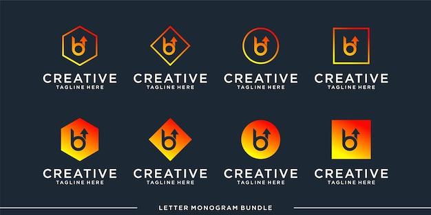 Set monogramm b logo design-vorlage