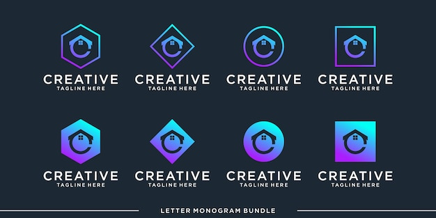 Set monogramm c logo design-vorlage