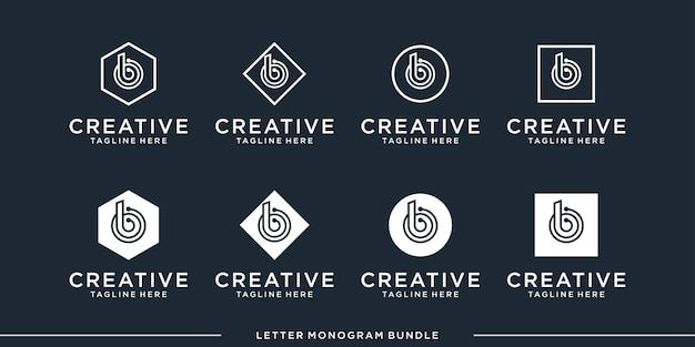 Set monogramm symbol initiale b logo design-vorlage