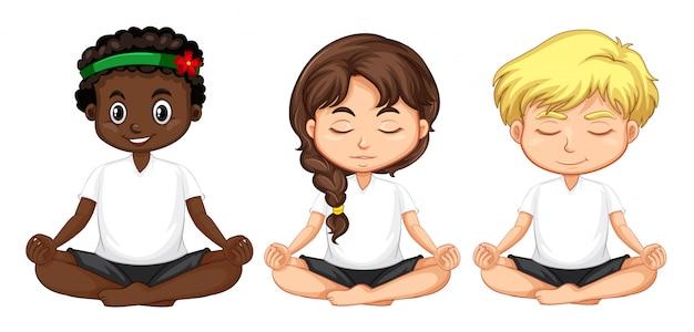 Set multikulturelle leute meditieren