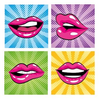 Set mund mit zähnen und zunge pop-art-design