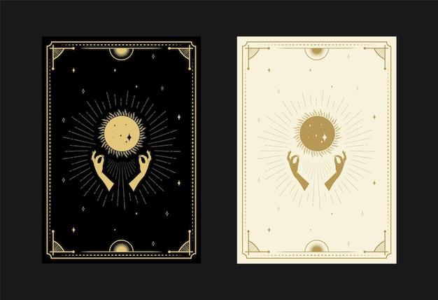 Set mystischer tarotkarten alchemistische doodle-symbole gravur von sternen mondstrahlen und kristallen