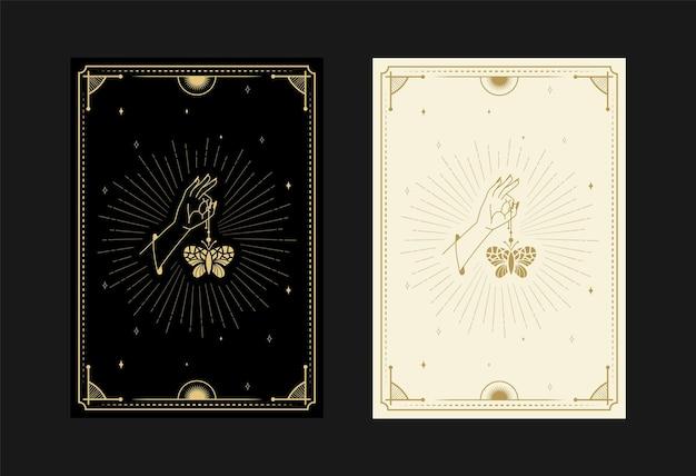 Set mystischer tarotkarten alchemistische doodle-symbole gravur von sternen-motten-schmetterlings-kristallen