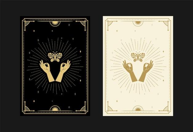 Set mystischer tarotkarten alchemistische doodle-symbole gravur von sternen-strahlenmotten-schmetterlingskristallen