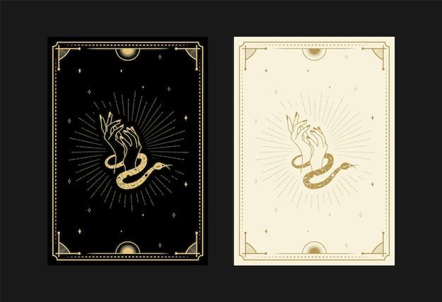 Set mystischer tarotkarten alchemistische doodle-symbole gravur von sternenschädel, schlangen und kristallen