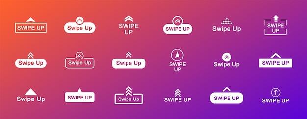 Set nach oben wischen. pfeiltasten nach oben. wischen sie nach oben für social media-geschichten. piktogramm scrollen. web-icons für werbung und marketing.