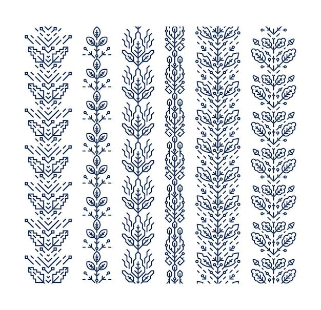 Set nahtlose geometrische blumenornamente, dekorative pinsel