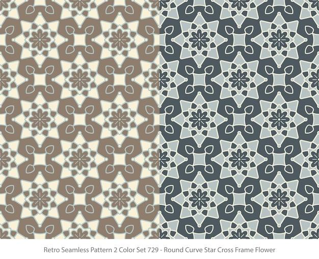 Set nahtlose muster mit runder kurve sternrahmenblume
