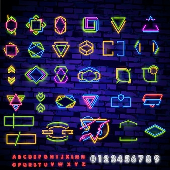 Set neon farbige felder und elemente. elektrisches schild der weinlese mit den hellen neonlichtern lokalisiert