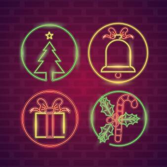 Set neonlichter der frohen weihnachten
