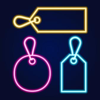 Set neonpreisschilder mit verschiedenen farben und formen