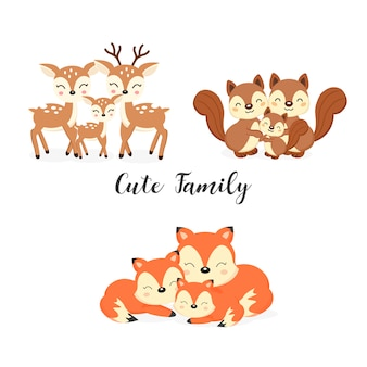 Set nette familienwaldtiere. füchse, rotwild, eichhörnchen-cartoon.