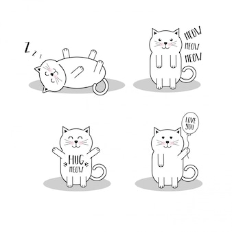 Set nette karikaturkatzen