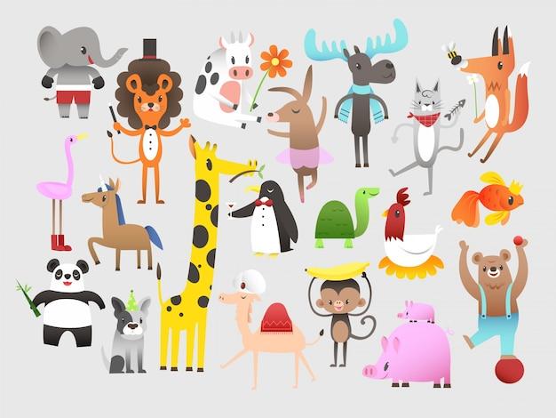 Set nette lustige tiere cartoon