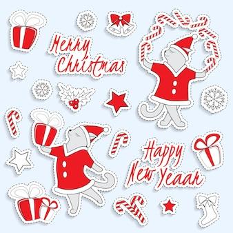 Set nette weihnachtsaufkleber mit tanzenden katzen