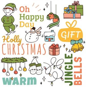 Set nette weihnachtsgekritzelhintergrund