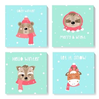 Set neujahrskarten mit niedlichen tieren