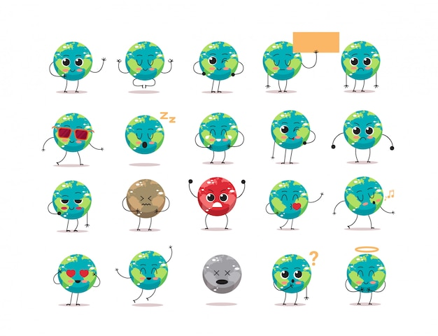 Set niedliche erde charaktere mit verschiedenen emotionen cartoon maskottchen globus persönlichkeiten sammlung speichern planeten konzept isoliert
