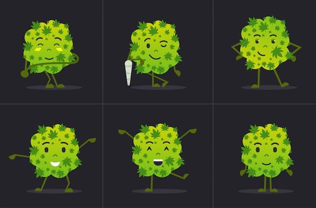 Set niedliche lächelnde cannabis-unkraut-knospe-zeichentrickfigur, die in verschiedenen posen medizinisches marihuana-drogenkonsumkonzept horizontal flach steht