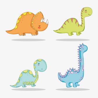 Set niedliche triceratops mit diplodocus- und brontosaurus-wildtieren